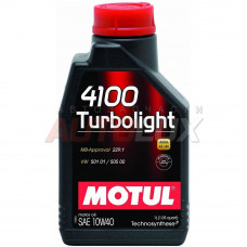 102774 Мотор/масло MOTUL 4100 Turbolight 10W40 1 литр СНЯТО