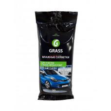 GRASS Салфетки влажные для очистки стекл зеркал и фар (30 шт)
