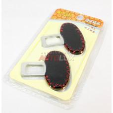 Заглушка замка ремня безопасности (к-т 2 шт) черная с красной строчкой (блистер)