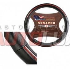 AZARD Оплетка на руль SENATOR - New Jersey (кожа, черный) размер M (37-39 см)