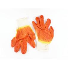 Перчатки Х/Б с двойным латексом Алёнка (оранжевые)