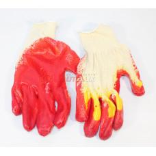 Перчатки Х/Б с двойным латексом Алёнка (красно-жёлтые)
