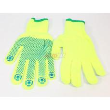 Перчатки акриловые точка зел. (кислотно-жёлтые) (размер M-L)