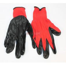Перчатки нейлоновые с полиуретановым покрытием (красно-чёрные)