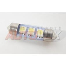 Светодиод 12V T11(C5W) 3SMD с цоколем 36мм 1-контактная Белая (салон, номер) SKYWAY