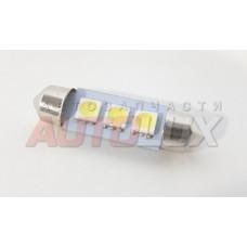 Светодиод 12V T11(C5W) 3SMD с цоколем 39мм 1-контактная Белая (салон, номер) SKYWAY